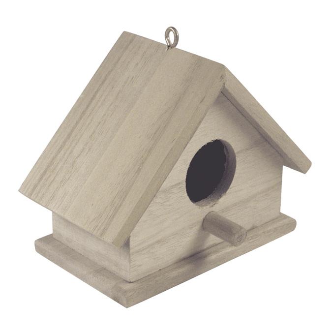 Nichoir à oiseaux en bois set de 2 tailles 13 x 6cm & 11 x 6cm