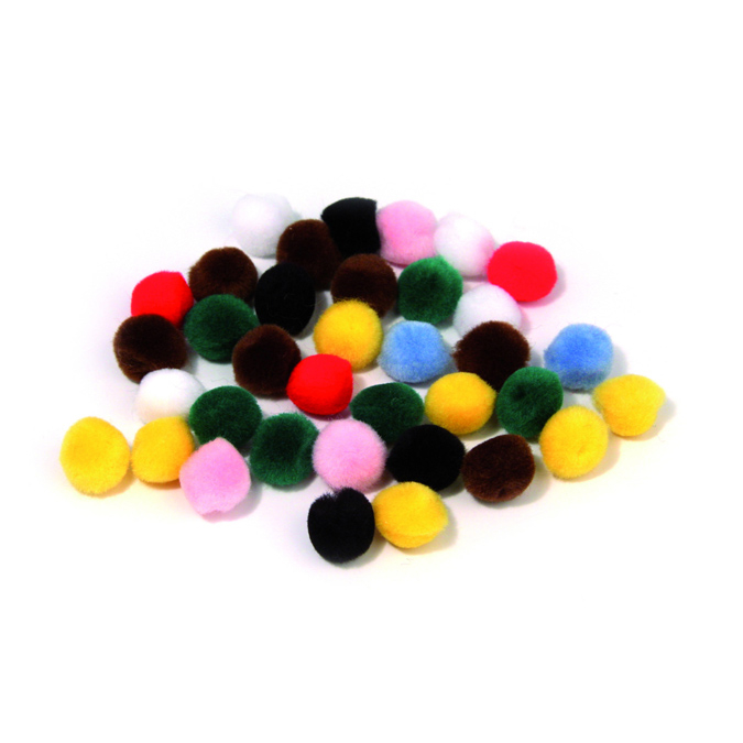 Pompons 7mm set de 70 assortis