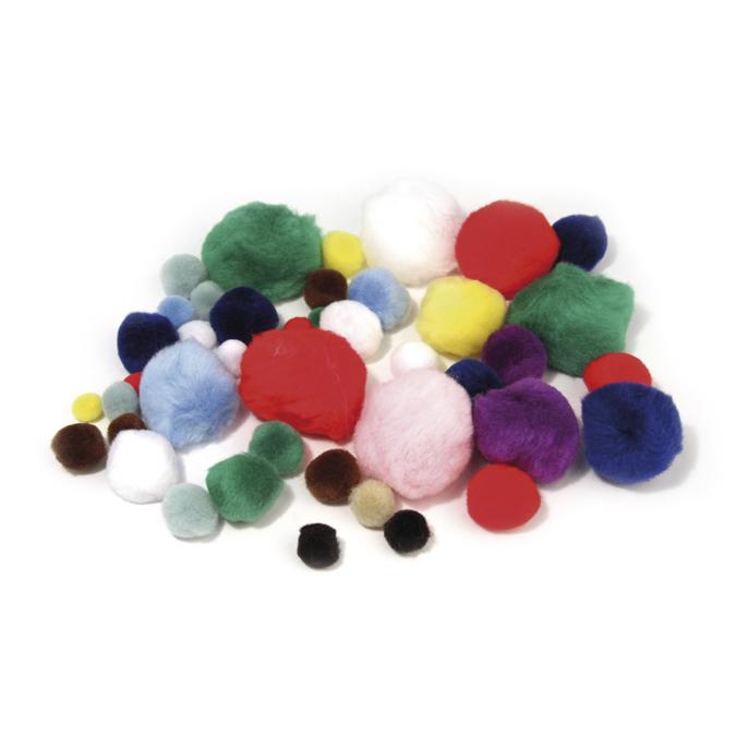 Pompons set de 10 couleurs et tailles assorties