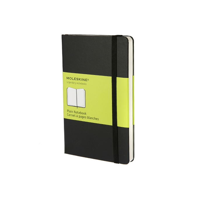Carnet de notes Moleskine rigide pages blanches 9 X 14 noir