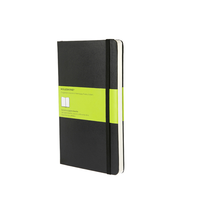 Carnet de notes Moleskine rigide pages blanches 13 X 21 noir
