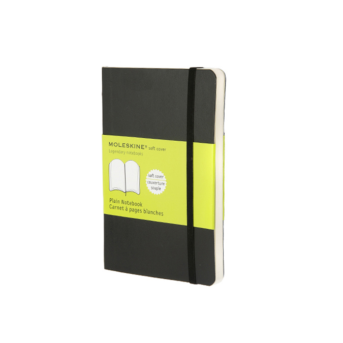 Carnet de notes Moleskine souple pages blanches 9 x 14 noir