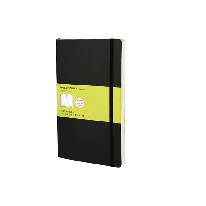 Carnet de notes Moleskine souple pages blanches 13 X 21 noir