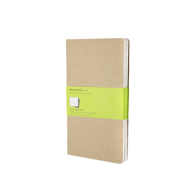Set de 3 carnets de notes Moleskine pages blanches 13 X 21 kraft