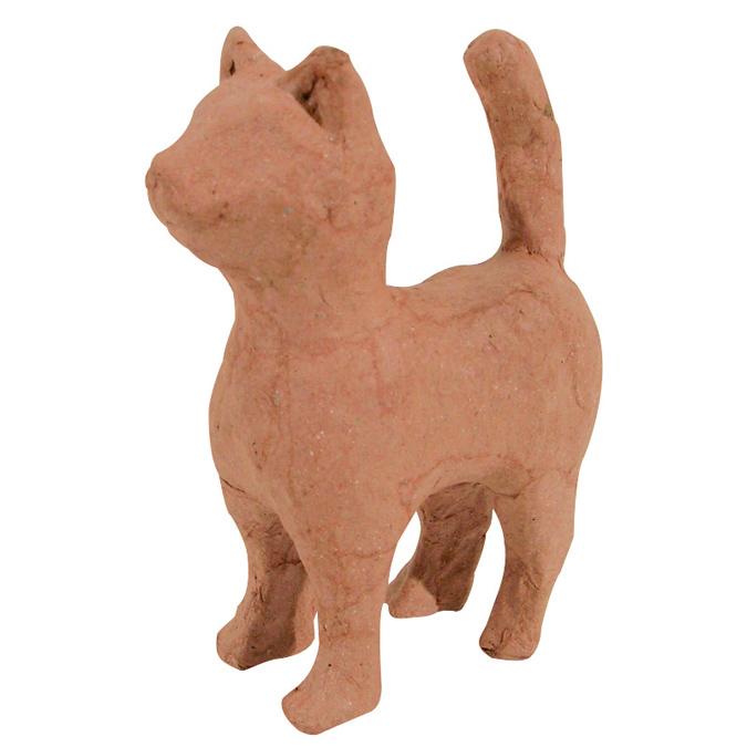 Objet en papier mâché petit chat debout