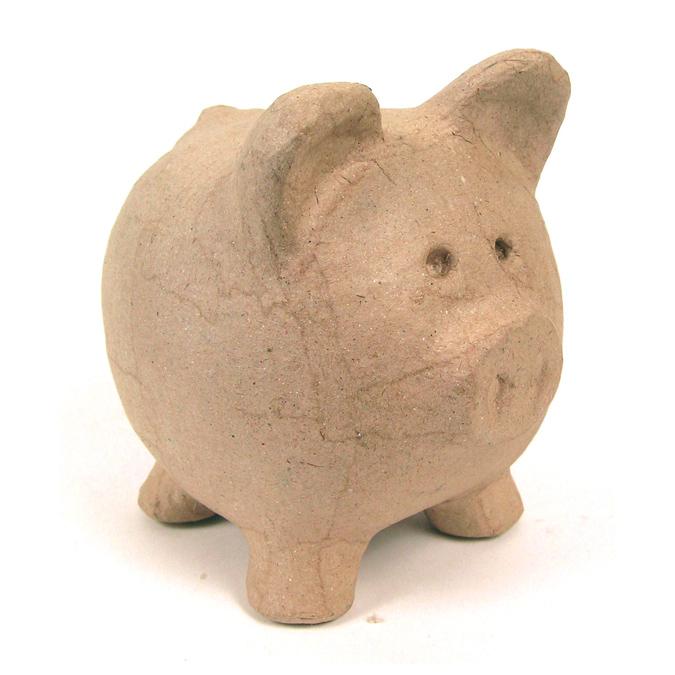 Objet en papier mâché tirelire cochon 12 x 12 x 12cm