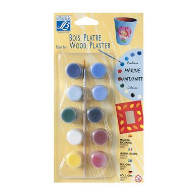 Set peinture acrylique mat pour bois et plâtre pots de 4ml par 10 couleurs