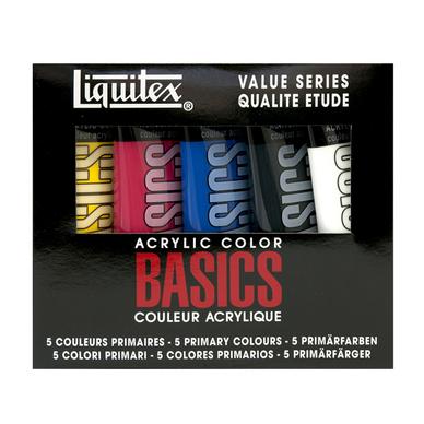 Coffret Acrylique étude Basics 118ml couleurs primaires + noir et blanc