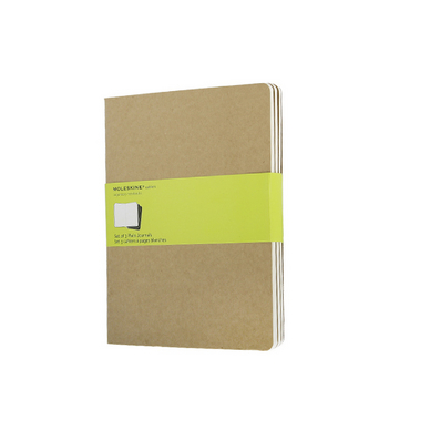 Set de 3 Cahiers Moleskine pages blanches 19 X 25 kraft