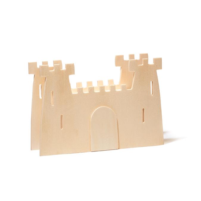 Pot à crayons en bois motif château