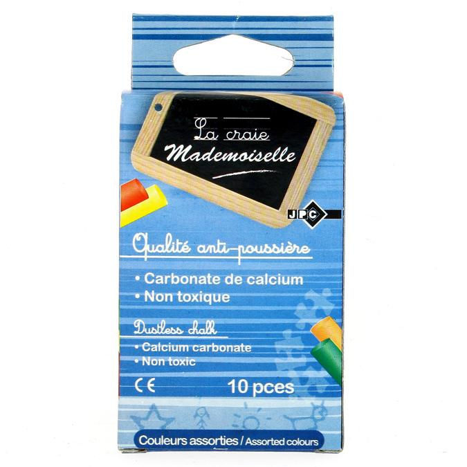 Craies anti-poussière boîte de 10 couleurs assorties
