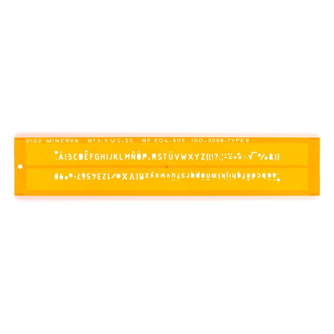Normographe iso alphabet hauteur de lettre 3.5mm