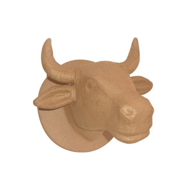Objet en papier mâché tête de vache