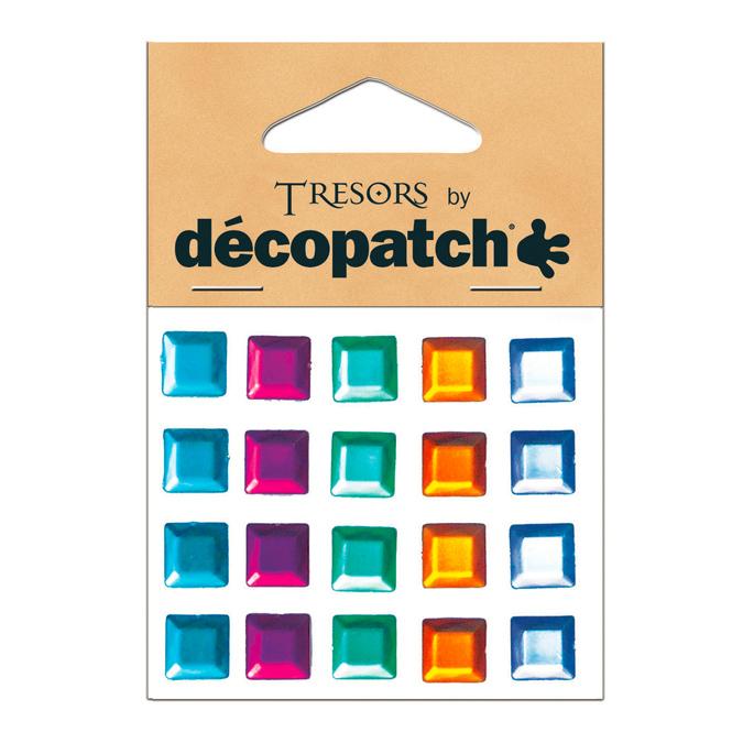 20 Cabochons carrés multicolores