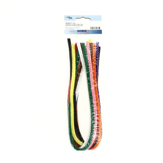 Chenille cure-pipe 50cm par 10 couleurs assorties