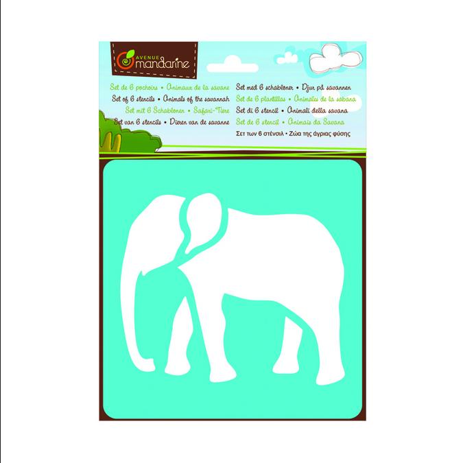 Pochoir Avenue Mandarine motif 6 animaux de la savane