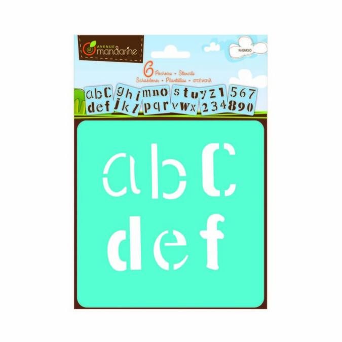 Pochoir Avenue Mandarine motif alphabet