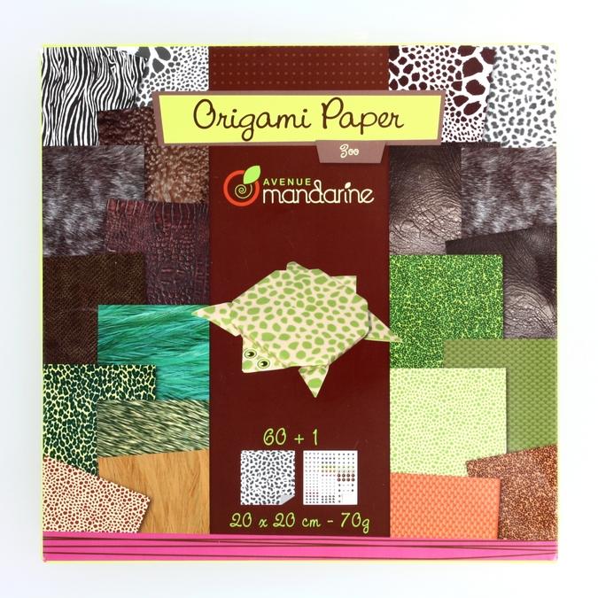 Papier origami Zoo 20x20cm 60 feuilles