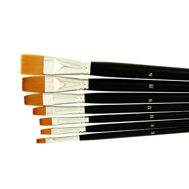 Lot de 7 pinceaux en poils synthétiques pour huile - acrylique - gouache