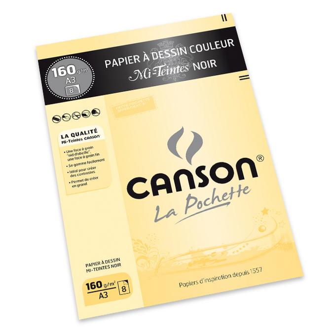 Pochette de 8 feuilles de papiers A3 couleur Mi-Teintes noir 160g