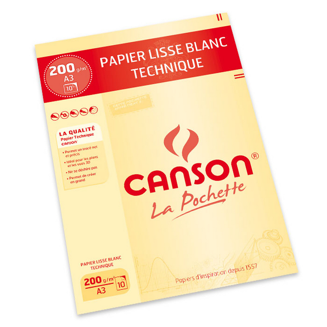Papier Lavis technique 200g A3 pochette de 10 feuilles