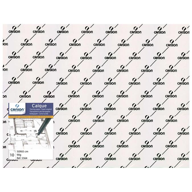 Calque Satin Lisse 50x65cm, pack de 10 feuilles 90/95 g/m²