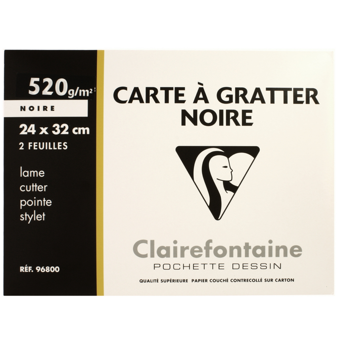 Pochette de 2 cartes à gratter noires 24 x 32 cm