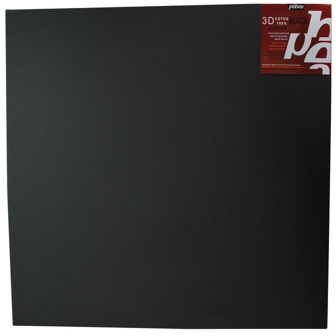 Châssis 3D carré entoilé coton noir 40 X 40 cm