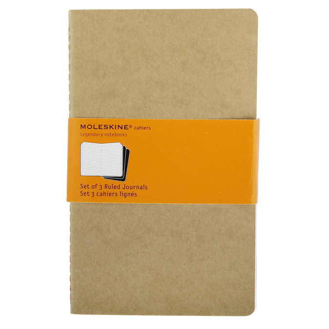 Lot de 3 carnets de notes Moleskine ligné 13 X 21 kraft