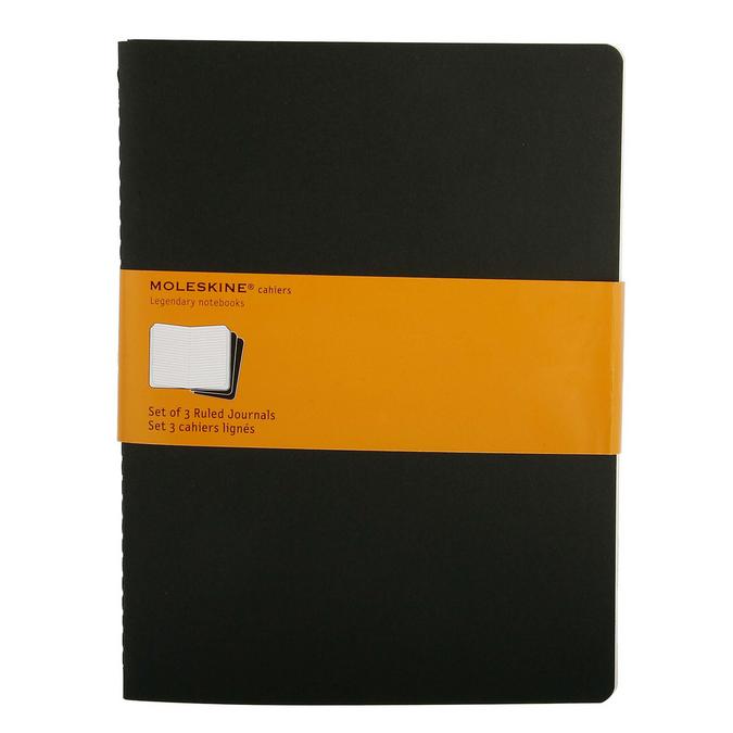Set de 3 carnets de notes Moleskine ligné 19 X 25 noir