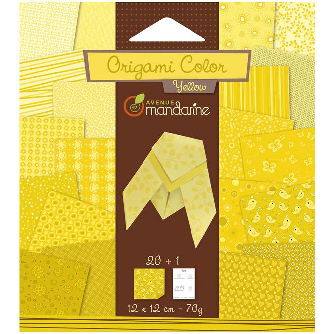 Papier origami jaune 12x12cm 20 feuilles