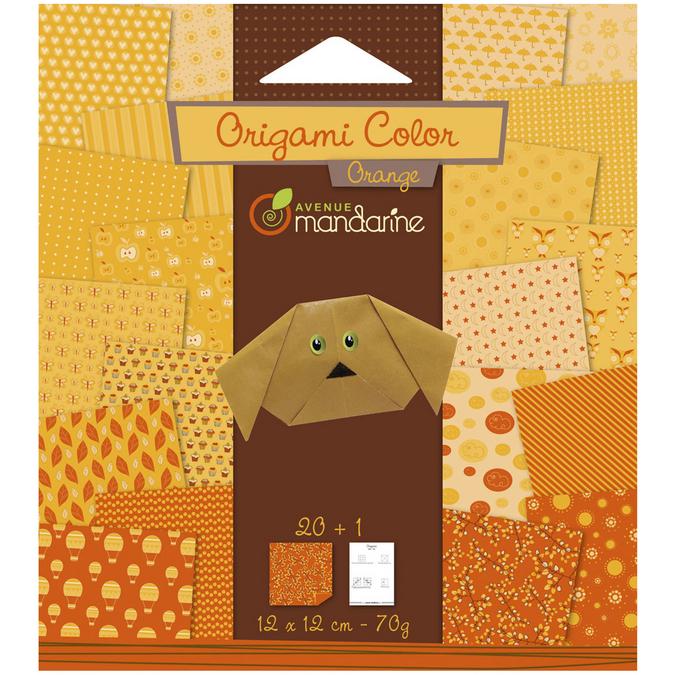 Papier origami orange 12x12cm 20 feuilles