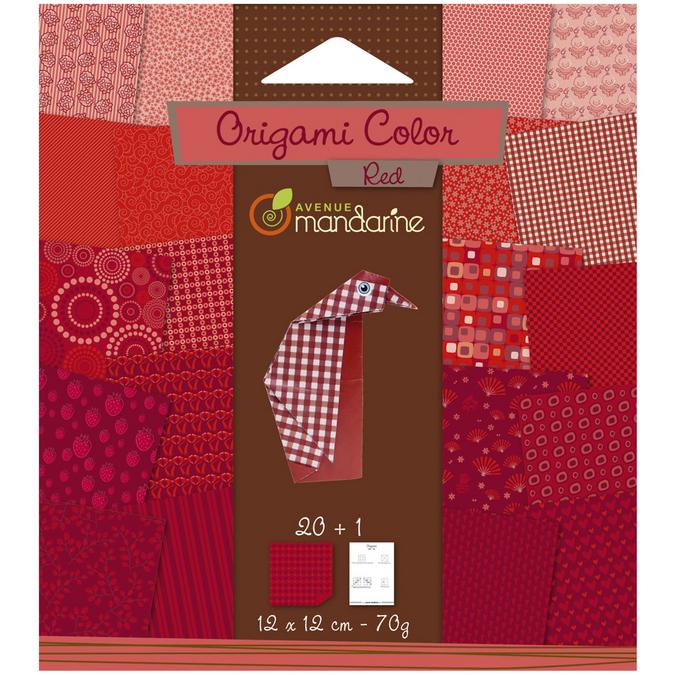 Papier origami rouge 12x12cm 20 feuilles