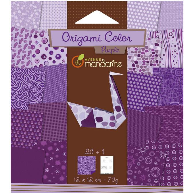 Papier origami violet 12x12cm 20 feuilles