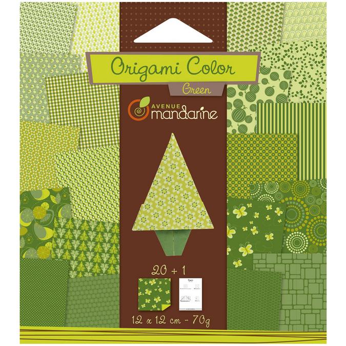Papier origami vert 12x12cm 20 feuilles