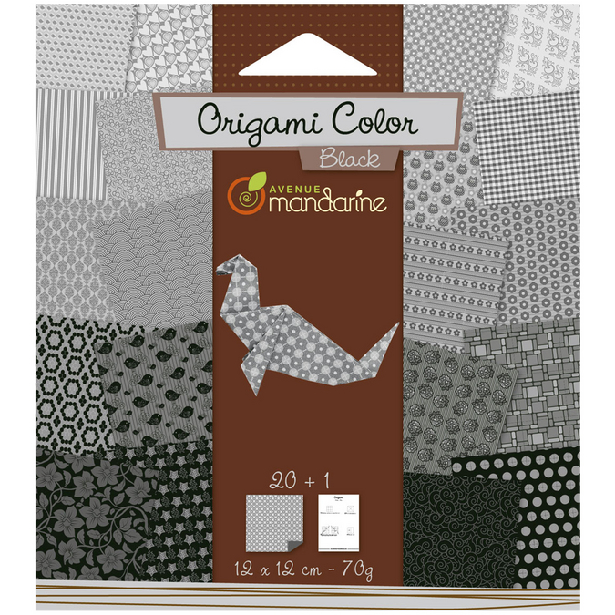 Papier origami noir et blanc 12x12cm 20 feuilles