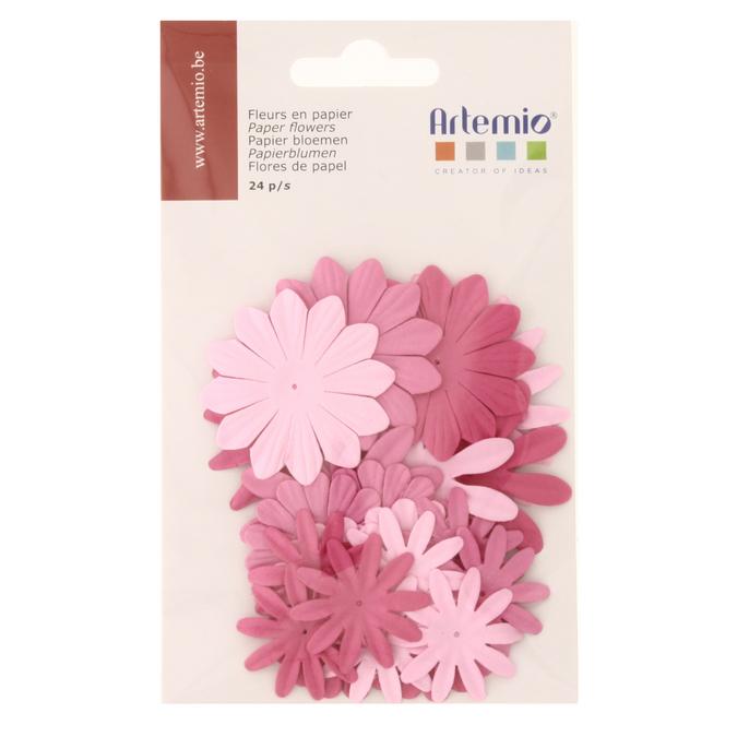 Fleur en papier Rose 24 pcs