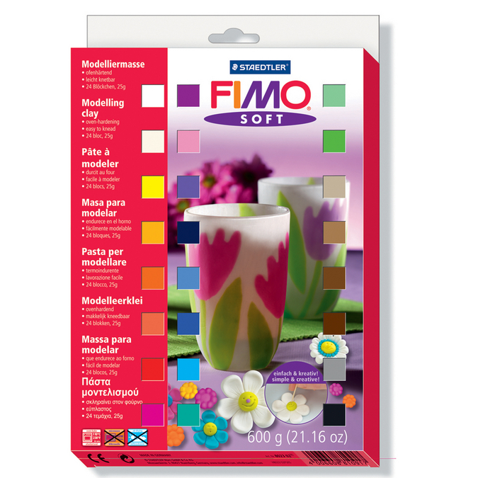 Assortiment de 24 demi pains de pâte polymère Fimo Soft