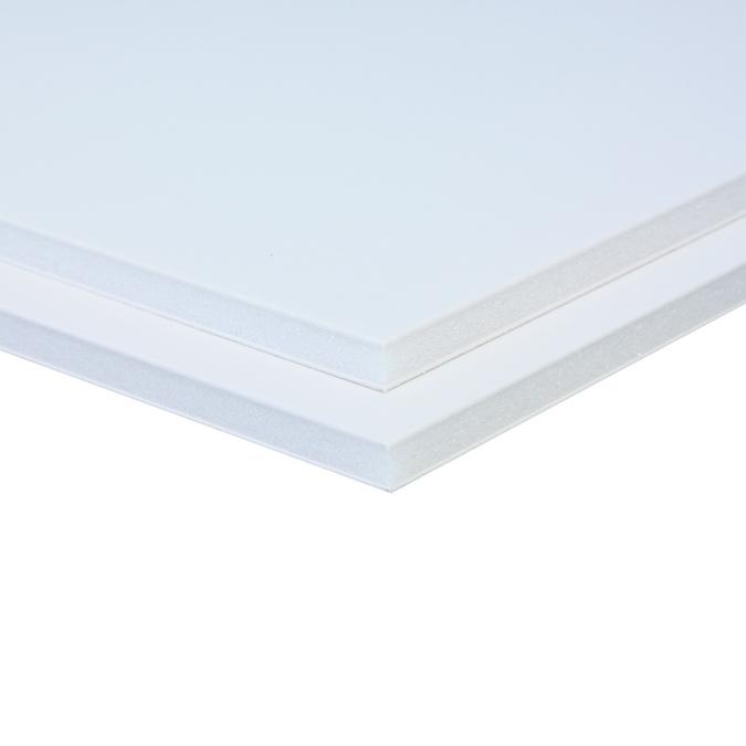 Carton mousse 5 mm 2 faces aluminium laqué blanc 70 x 100 cm