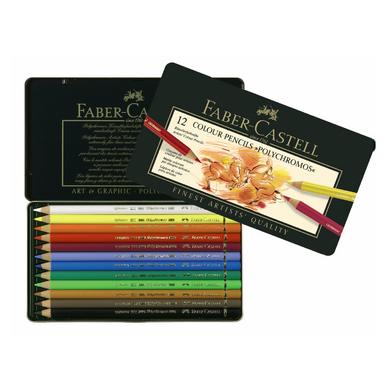 boîte métal de 12 crayons de couleurs polychromos faber-castell