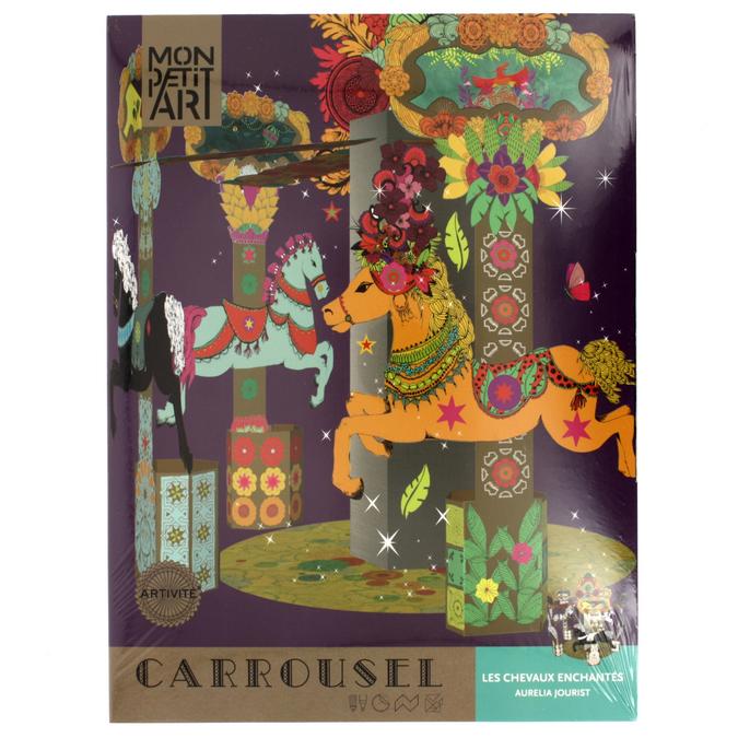 Coffret de coloriage et montage sur carrousel Chevaux