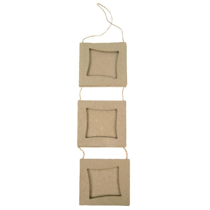 Set de 3 cadres carrés en papier mâché