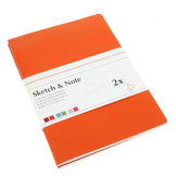 Lot de 2 carnets de croquis & notes 125 g cerise/paprika