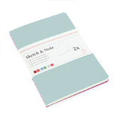 Lot de 2 carnets de croquis & notes 125 g laurier/fuchsia