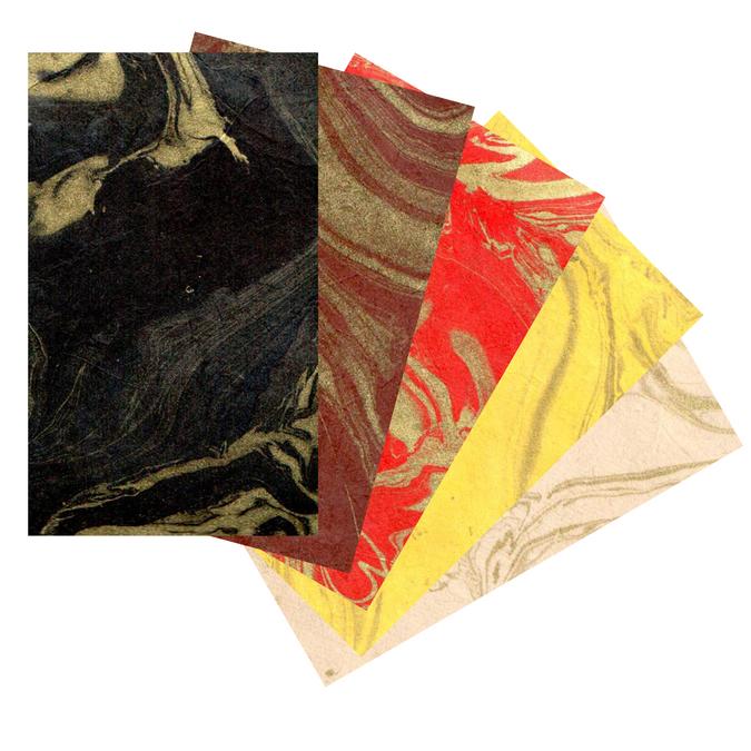 Papier LOKTA marbré or 51 x 76 cm 80g Noir