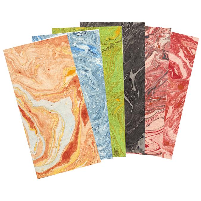 Papier Lokta marbré 51 x 76 cm 80 g/m² Noir marbré gris