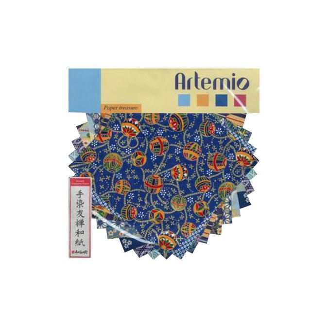 Papier origami bleu 15x15cm 10 feuilles