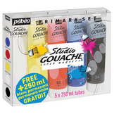 Pack de 5 tubes de gouache Studio 250 ml