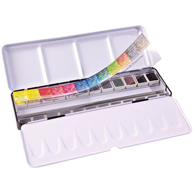 Boite aquarelle extra-fine au miel Sennelier 12 1/2 godets en boîte métallique