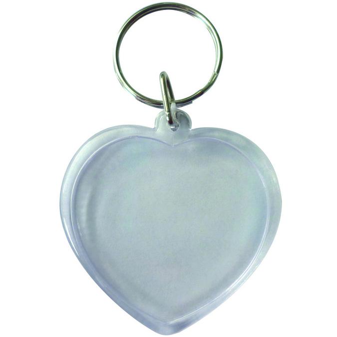 Lot de 6 porte clés transparents cœurs
